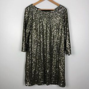 Gold Silver Black Sequins Party Dress 3/4 Sleeves